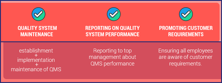 Responsibilities of management representative: Quality System Maintenance, Reporting on Quality System Performance, Promoting Customer Requirements